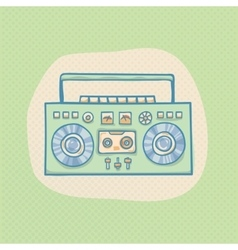 Boombox with cassette vector image vector image