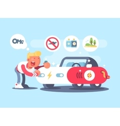 Electric car and happy owner vector image vector image