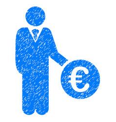 euro investor icon grunge watermark vector image