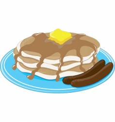 pancakes sausage vector image vector image