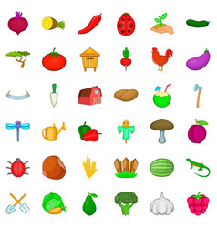 pumpkin icons set cartoon style vector image vector image