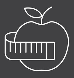 apple with measuring tape line icon fitness vector image vector image