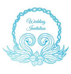blue wedding invitation vector image