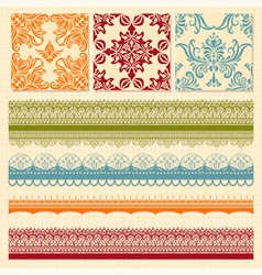 bright seamless paterns and seamless lacy ribbons vector image vector image