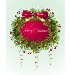 Christmas floral wreath vector image vector image