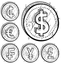doodle currency coin set vector image vector image