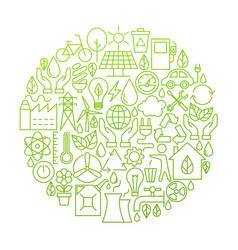 ecology line icon circle design vector image