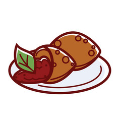 falafel kofte with delicious filling and green vector image
