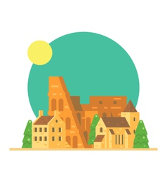 Flat design of Colloseum Italy with village vector image