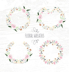 hand drawn pastel flower and floral frame vector image