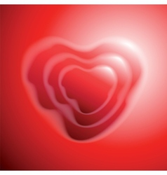Heart shape on red background vector image vector image