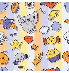 Seamless halloween kawaii pattern with sticker vector image vector image