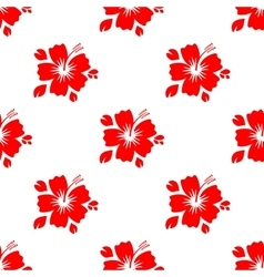 Seamless pattern with red flower vector image vector image