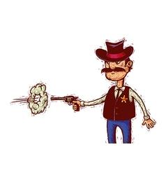 sheriff fires his gun vector image