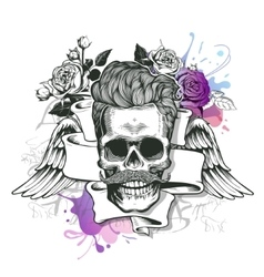 Skull Hipster silhouette with mustache and vector image