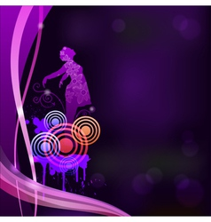 Abstract background with a silhouette of a girl ep vector image