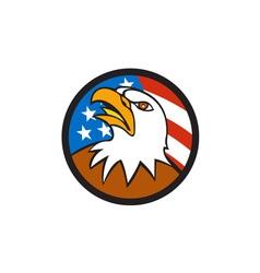 American Bald Eagle Head Looking Up Flag Circle vector image vector image