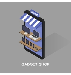 Isometric concept store online shopping of gadgets vector image vector image