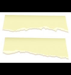 top torn pages in yellow vector image vector image