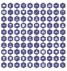 100 antiterrorism icons hexagon purple vector image