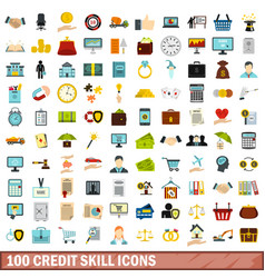 100 credit skill icons set flat style vector image
