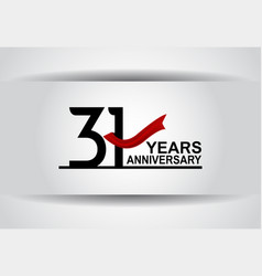 31 years anniversary design with red ribbon vector