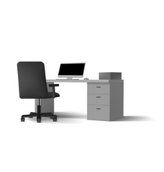 3d view white office interior with computers vector image