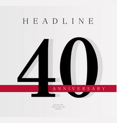 40th anniversary banner template journal cover vector