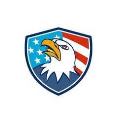 American Bald Eagle Head Looking Up Flag Crest vector image