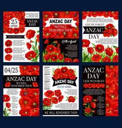 anzac day 25 april poppy flowers posters vector image