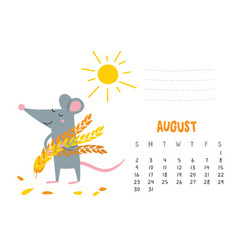 August calendar page with cute rat with harvest vector