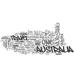 Australia travel for a nurse text word cloud vector