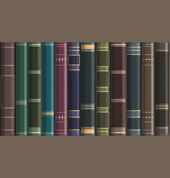 Background from old vintage books on a bookshelf vector