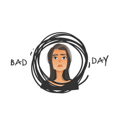beautiful girl with negative face emotion vector image