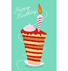 Birthday cake High cake Happy birthday postcard vector image