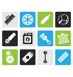 Black Realistic Car Parts and Services icons vector