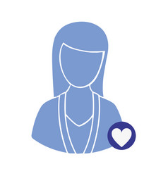 blue contour woman with blue heart icon vector image