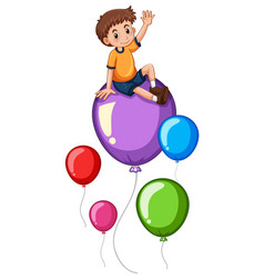 Boy and colorful balloons vector