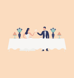 bride and groom sitting at wedding feast table vector image