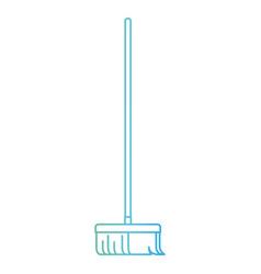 broom with wooden stick in degraded green to blue vector image