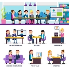 Business people meeting set vector