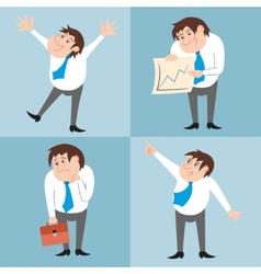 Businessman character poses set vector