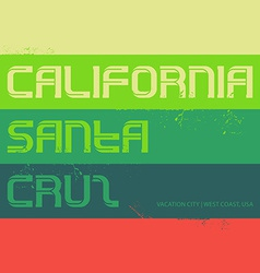 California vintage labels typography santa cruz vector