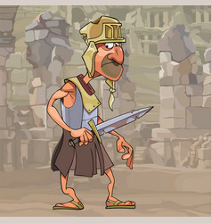Cartoon funny man in gladiator clothes with a vector
