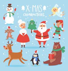 christmas characters cute cartoon santa vector image