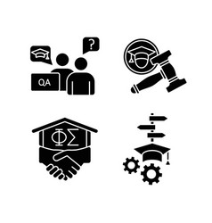 College life black glyph icons set on white space vector