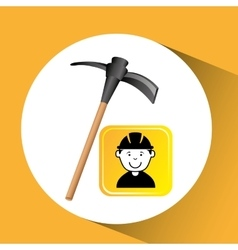 Construction worker pick axe graphic vector