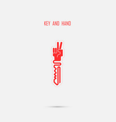 Creative key sign with hand symbol vector