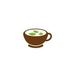 creative mug green tea logo vector image