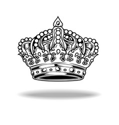 crown black and white king queen 88 vector image